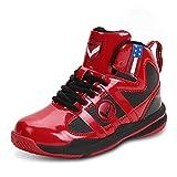 ASHION Kinder Basketballschuhe Outdoor Kids Sneakers Shockproof Breathable Jungen Mädchen Sport Schuhe Laufschuhe (34 EU, Rot)