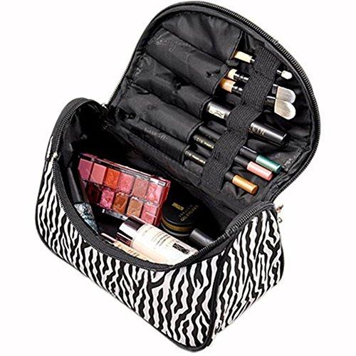 CAOLATOR Trousse de maquillage voyage Lingot Forme Poche Boîte Trousse Pochette à Crayons Règles Cosmétique Maquillage en Fermeture éclair Rayures noires et blanches
