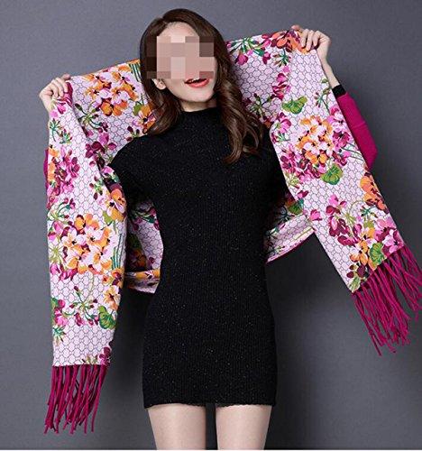 Sciarpa Autunno E Inverno Nappe Spessore Doppio Strato Stampa Maglione Fashion High-end Giacca Da Donna 4