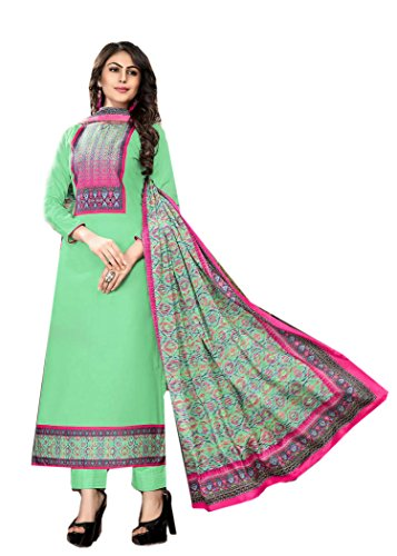 BKRKJ Women's Jam cotton Lawn Fabric Unstitched Dress Material | Party Wear New Summer Collection Premium range Suit | Digital Print Unique Chinon Silk Choli Patch Work | Matching salwar and pure Chinon silk Figure Print Dupatta (Light Green_Pink_Free Size)