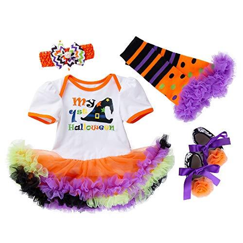 OKMIJN Halloween Kinderkleidung Baby Mädchen Kleidung Set Baby Langarm Halloween Brief Drucken Overall Rock 4 Stück Anzug Kleidungssätze
