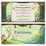 Einladungskarten zum Geburtstag (10 Stück) Mittelalter Ritter Burg Schloss Einladung Karte