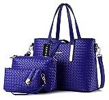 Tibes mode pu cuir sac à main + sac à bandoulière + sac 3pcs sac A Bleu