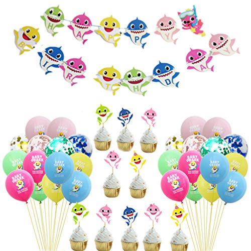 XinqinDing Baby Niedliche Shark Balloons Partyzubehör Set, Shark'Happy Birthday' Banner Shark Cupcake Topper Latex Konfetti Luftballons für Kindergeburtstag Party Dekorationen, Packung mit 34