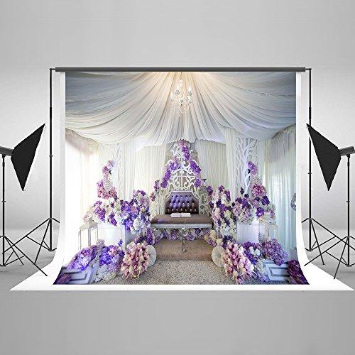 KateHome PHOTOSTUDIOS 10x10ft(3x3m) Hochzeit Hintergrund Mikrofaser Fotografie Hintergrund Blumenstrauß Foto Kulissen Weiß Garn Fotografie Hintergründe für Hochzeit Baby Party Dekoration Fotostudios