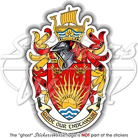"""Suffolk Contea di Inghilterra Stemma Distintivo Crest Ipswich Regno Unito 113mm (4.4"""") Bumper in vinile,"""