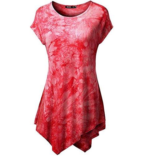 Minetom Damen Langarm Lose Bluse Rundkragen Kurzarm Asymmetrisch T-Shirt Sommer Tunika Oberteil Tops ( Rot 2 DE 44 ) (Dye Tie Langarm Mädchen)