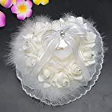 Yosoo Lovely Romantic Elegant Rose Wedding Heart Shaped Design Feather Style Gift Ring Box Pillow Cushion Decoration
