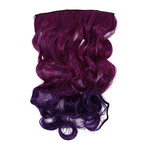 TOOGOO(R)Klipp innen Blau Lila Lockiges Haar Peruecke Stueck Haar-Verlaengerung fuer Damen