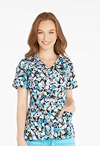 Gen Flex By Dickies Women's Mock Wrap Abstract Print Scrub Top Xxx-Large Print (Dickies-gen-flex-scrubs)