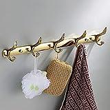 Lookshop® Patère à 5 crochets dorée en alliage de zinc de style contemporain