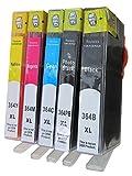ESMOnline 5 komp. XL Druckerpatronen (5 Farben) für Photosmart 7510 7520 B8550 C5324 C5380 C6324 C6380 D5460 Photosmart B109d (HP 364)
