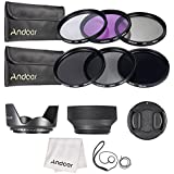 Andoer 58mm Lens Filter Kit UV+CPL+FLD+ND(ND2 ND4 ND8) With Carry Pouch/Lens Cap/Lens Cap Holder/Tulip & Rubber Lens Hoods/Cleaning Cloth