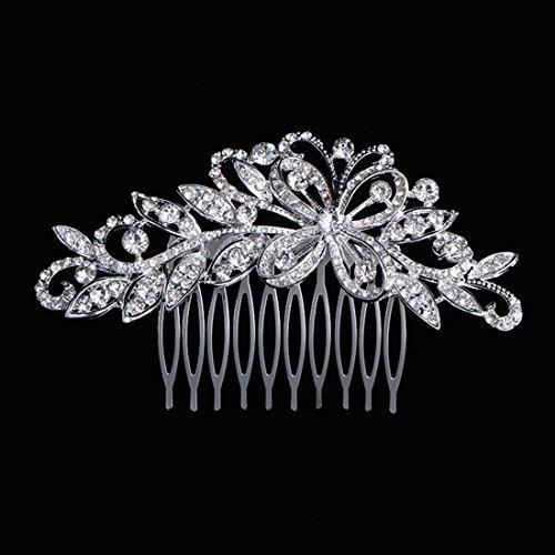 Txian Fermaglio pettine per decorare i capelli motivo floreale con brillantini di cristallo per spose o damigelle donore