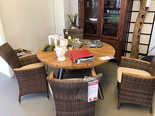 casamia Fjord Table de Jardin Ronde en Teck avec Structure en Acier Inoxydable et 4 fauteuils Relax en polyrotin avec Coussin d'assise