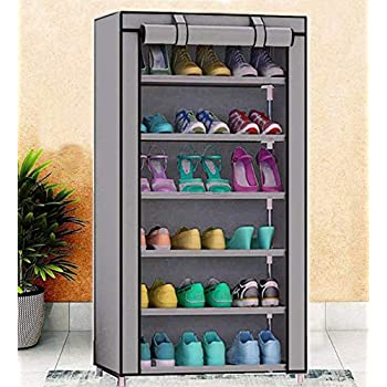 Sasimo Multipurpose Portable Folding Shoes Rack 6 Tiers Multi-Purpose Shoe Storage Organizer Cabinet Tower with Iron and Nonwoven Fabric with Zippered Dustproof Cover Color Grey