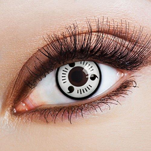 aricona Farblinsen – Byakugan Kontaktlinsen ohne Stärke, farbige, deckend weiße 12 Monatslinsen – bunte, schwarze Augenlinsen für Cosplay & (Sarada Kostüm Uchiha)