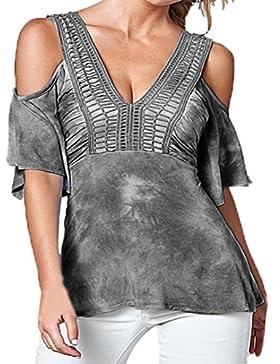 Blusas para mujeres, SHOBDW V-Collar atractivas del camiseta de manga corta de la Camiseta de sólida de Tops