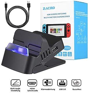 Zacro portables Dock für Nintendo Switch mit HDMI-Out, USB-C und justierbarem Aufstellwinkel