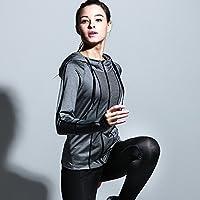 Huoduoduo Prendas De Moda De La Capa Golpean El Color De La Aptitud De Los Deportes Que Se Ejecutan La Camisa Ropa De Yoga Encapuchada De La Cremallera De Manga Larga Femenina,Gray,M