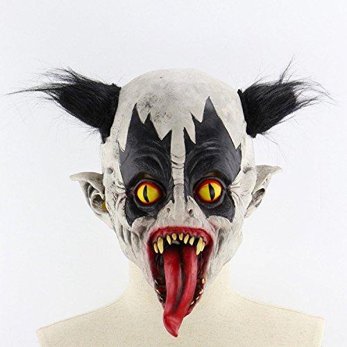 TOOGOO Explosive Kopf Mund Lange Zunge Clown Curly Glatze Clown Mutant Fledermaus Clown Terror Red Hat Flame Clown Halloween Zimmer Escape Bar Tanz Requisiten Latex Horror Geist Scary Maske D