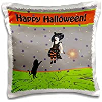 Halloween Design - Little Witch on Her Broom, Black Cat on Hind Legs Reaching Up to Her - 16x16 inch Pillow Case - Cat Broom