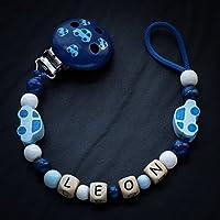 Schnullerkette mit Name Holz Clips Perlen Motive Buchstaben Junge Modell Leon