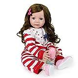 VNEIRW Lebensecht Puppe Waschbar Reborn Babypuppe Silikon Realistische Baby Puppe mit Langes lockiges Haar und Streifen Baby Onesies 52 cm (Rot)