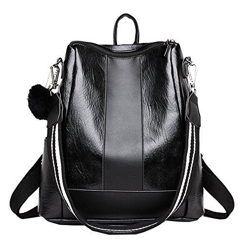 E/w Satchel (Reasoncool 2018 Damen Handtasche,Mädchen Hairball Leder Schultasche Hit Farbe Rucksack Satchel Reise Umhängetasche,31cm(L)*15cm(W)*31cm(H))