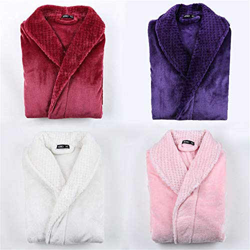 Naht Flanell Paar Nachthemd männlich und weiblich lange dicke XL Bademantel Pyjama Herbst und Winter rosa XL