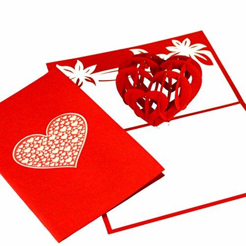 """3D Pop-Up Karte """"Liebesherz"""" - Karte Hochzeitstag, Hochzeitskarten 3D, Pop Up Hochzeiteinladungen, Valentinskarte, Verlobungskarten, Hochzeitstag Geschenke Männer & Frauen"""