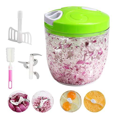 Ballery Gemüseschneider, Zwiebelschneider Obst und Gemüse Zwiebel Zerkleinerer Küche Multizerkleinerer Küchenmaschine mit 5 Klingen für Babynahrung, Gemüse, Früchte, Fleisch - 900 ml