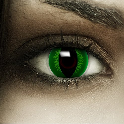 Farbige grüne Kontaktlinsen Hulk + Kunstblut Kapseln + Behälter von FXCONTACTS®, weich, ohne Stärke als 2er Pack - perfekt zu Halloween, Karneval, Fasching oder Fasnacht