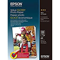 Epson Value Glossy Photo Paper - A4-20 Hojas - Papel fotográfico (Brillo, 183 g/m², A4, 20 hojas, Expression Premium XP-900 - Expression Premium XP-830 - Expression Premium XP-820 - Expression.)