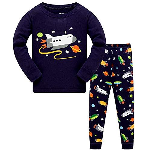 HIKIDS Jungen Schlafanzug Weltraumrakete Langarm Zweiteilige Space Shuttle Pyjama Sets Kinder Raumfahrzeug Nachtwäsche 134