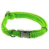 Dinoleine Hunde-Halsband mit Click-Verschluss, Größenverstellbar, Polyester, Größe: L/ 45-70 cm, Neongrün, 281104