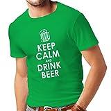 T-Shirt pour Hommes Gardez Votre Calme et Buvez la bière - Obtenir des Citations Humoristiques Ivre, des Cadeaux drôles d'alcool (Large Vert Blanc)