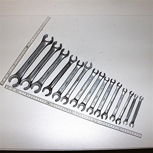Risparmio set: 15pezzi set tubo freno portachiavi/portachiavi anello aperta/Accensione Chiave metrico, 17dimensioni SW 8fino a 32mm, in acciaio cromo vanadio, wgb 'L' attrezzo', 10anni di