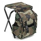 Gracosy Chaise de Plage Pliante Portable Sac à Dos de pêche Sac à Dos Sac de randonnée Sac de Transport pour Camping Pique-Nique Outdoor Vert Camouflage 25 x 23 x 35 cm