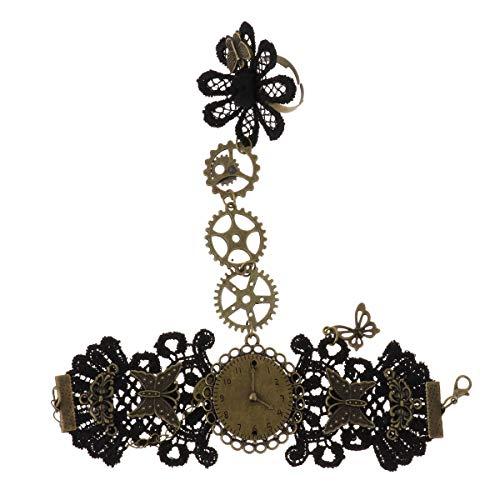 Agoky Damen Spitzen Armband mit Ring Gothic Anhänger Kette Steampunk Schmuck Kostüm Kleid Accessoires mit Zahnrädern Schwarz A One Size (Zahnräder Zahnrad Kostüme)