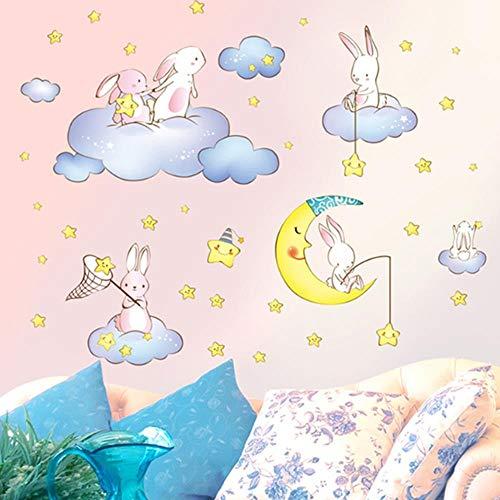 FLFLFL Kaninchen Tiere Wandaufkleber DIY Cartoon Wolken Sterne Mond Für Kinderzimmer Baby Schlafzimmer Kindergarten Haus Dekoration -