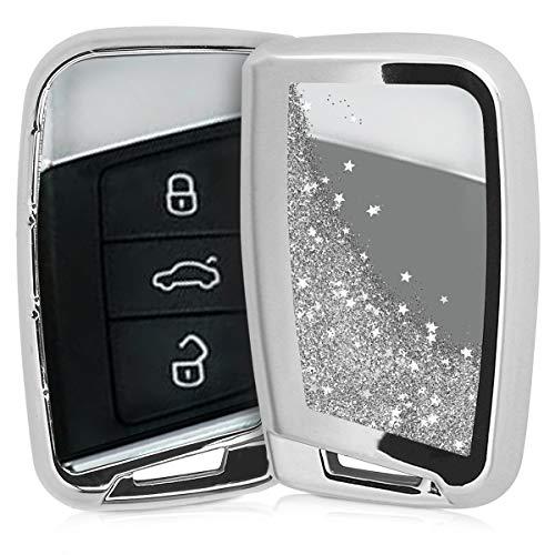 kwmobile Autoschlüssel Hülle für VW - TPU Schutzhülle Schlüsselhülle Cover für VW 3-Tasten Autoschlüssel (nur Keyless Go) Silber Metallic Silber