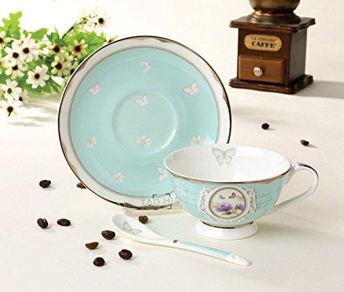 Teetasse aus hochwertigem Porzellan inkl. Untertasse und Löffel – Türkis – Vintage – Landhausstil – Barock - 2
