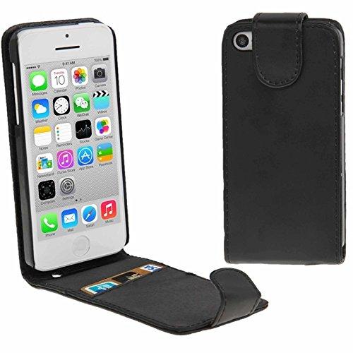 Mxnet Vertikale Flip Leder Tasche mit Kreditkarte Slot für iPhone 5C rutschsicher Telefon-Kasten ( Color : Black - Iphone Kreditkarten-telefon-kasten 5c
