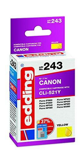 edding Tintenpatrone EDD-243 ersetzt Canon CLI-521Y - Gelb - 10,5ml