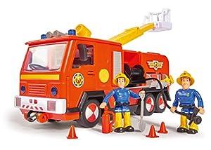 Simba 109251038 - Sam Jupiter Feuerwehrauto 2.0 / Mit Sam und Elvis Figur / mit Licht und Sound / Mit ausfahrbarer Leiter und Suchscheinwerfer / 28cm