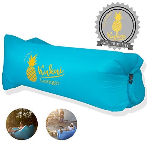 Kukui Air Lounger Maui Style mit Angesagtem Ananas Print und Tragetasche - Luftsofa für Strand, Camping, Outdoor, Reisen (Ice Blue)