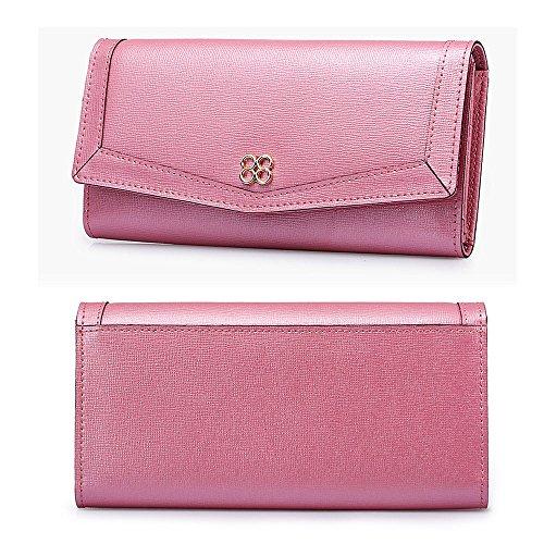 Artemis'Iris Womens grande capacità raccoglitore del cuoio genuino Carte di lusso dell'organizzatore del supporto della frizione a tre ante borsa lunga, rosa pink