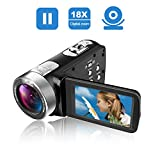 Camcorder Video Kamera Full HD 24,0 MP Camcorder Digital Kamera 1080p 3,0 ' ' drehbare LCD für Vlogging Webcam Pause-Funktion Dual-LED-Leuchten