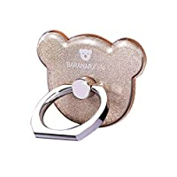 Cell Phone Ring Stand Holder, CAFELE 360° Rotation Smartphone Grip Sticky Kickstand - Bear Shape (Gold)